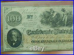 1862 $100 Confederate States Currency CIVIL War Cotton Hoer Note Csa Paper T-41