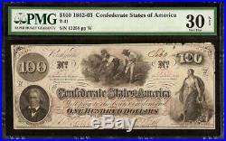1862 $100 Confederate States Currency CIVIL War Cotton Hoer Note Money T-41 Pmg