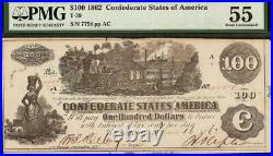 1862 $100 Confederate States Currency CIVIL War Note Money No Stamps T-39 Pmg 55