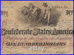 1862 $100 Dollar Bill Confederate States Currency CIVIL War Hoer Note T-41