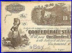 1862 $100 Dollar Confederate States Currency CIVIL War C Note Paper Money T-40