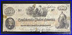 1862 $100 Dollar Confederate States Currency CIVIL War Hoer Note T-41