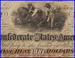 1862 $100 Dollar Confederate States Currency CIVIL War Hoer Note T-41 Pmg 55 Epq