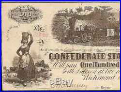 1862 $100 Dollar Confederate States Currency CIVIL War Note Csa Paper Money T-40