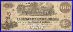 1862 $100 Dollar Confederate States Currency CIVIL War Note Paper Money T-39