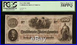 1862 $100 Dollar Confederate States Currency CIVIL War Note T-41 Pcgs 58 T Error