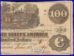 1862 $100 Dollar Confederate States Currency CIVIL War Train Note Money T-39 Vf
