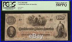 1862 $100 Dollar Confederate States Hoer Note CIVIL War Money T-41 Pcgs 58 Ppq