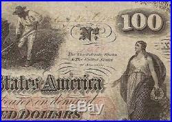 1862 $100 Full Hand Written Date Confederate States CIVIL War Note Money T-41