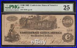 1862 $100 San Antonio Texas Stamp On T-39 Confederate States CIVIL War Note Pmg