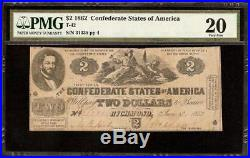 1862 $2 Two Dollar Confederate States Currency CIVIL War Note Money T-42 Pmg