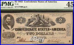 1862 $2 Two Dollar Confederate States Currency CIVIL War Note Money T-42 Pmg 45