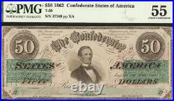 1862 $50 Dollar Confederate States Currency CIVIL War Note Better T-50 Pmg 55