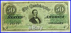 1862 $50 Richmond Confederate States of America Civil War Currency Note