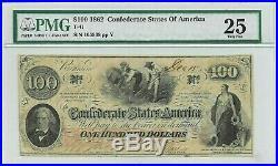 1862 Confederate States $100 Note Pmg Very Fine 25 CIVIL War T-41