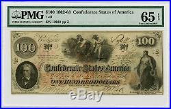 1862 T-41 $100 Confederate States of America Note CIVIL WAR Era PMG Gem 65 EPQ