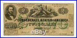 1862 T-43 $2 The Confederate States of America Note CIVIL WAR Era