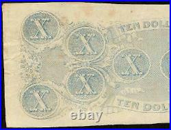 1863 $10 Dollar Bill Confederate States Currency CIVIL War Note Paper Money T-59