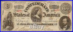 1863 $100 Dollar Confederate States Currency CIVIL War Note Paper Money T-56 Vf