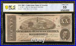1863 $20 Dollar Confederate States Currency CIVIL War Note Money T-58 Pcgs 55