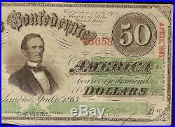 1863 $50 Dollar Bill Confederate States Currency CIVIL War Csa Note Money T-57