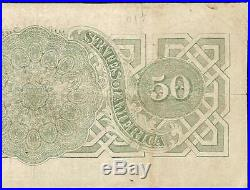 1863 $50 Dollar Bill Confederate States Currency CIVIL War Note Paper Money T-57