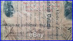 1863 Civil War $500 Confederate Bond withCoupons Issued At Houston, Texas Framed