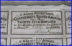 1863 Civil War Confederate $1000 Bond CR-122 Stonewall Jackson Pink Paper