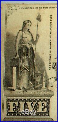 1863 Confederate Hand Cut $5 Note Paper Money Wilmington NC Civil War Era Signed