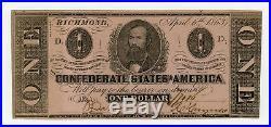 1863 T-62 $1 The Confederate States of America Note CIVIL WAR Era AU+