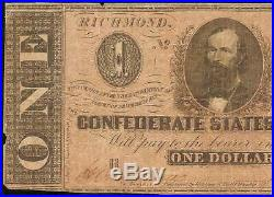 1864 $1 DOLLAR CONFEDERATE STATES CURRENCY CIVIL WAR NOTE MONEY T-71 PF-3 and 7