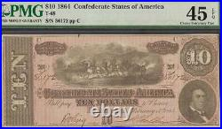 1864 $10 Dollar Bill Confederate States Currency CIVIL War Note Money Pmg 45 Epq