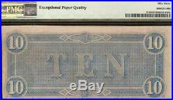 1864 $10 Dollar Bill Confederate States Currency CIVIL War Note Money Pmg 53 Epq