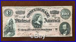1864 $100 Dollar Bill Confederate States Currency CIVIL War Note Paper Money