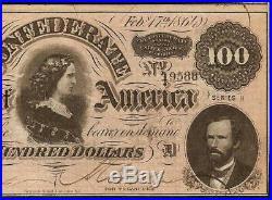 1864 $100 Dollar Bill Confederate States Currency CIVIL War Note Paper Money Au