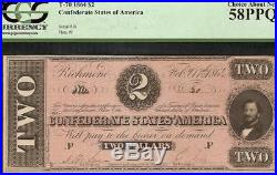 1864 $2 Dollar Bill Low # 30 Confederate States Currcency CIVIL War Note Pcgs 58