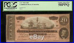 1864 $20 Dollar Bill Confederate States Currency Note CIVIL War Money T-67 Pcgs
