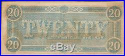 1864 $20 Low 3 Digit Note Confederate States Currency CIVIL War Paper Money T-67