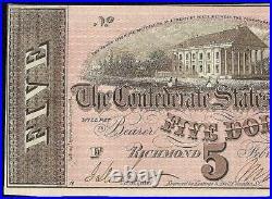 1864 $5 Dollar Bill Confederate States Currency CIVIL War Note Paper Money Au