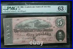 1864 $5 Dollar Bill Confederate States Note CIVIL War Paper Money T-69 Pcgs 63