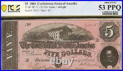 1864 $5 Dollar Confederate States Currency CIVIL War Note Money T-69 Pcgs 53 Ppq