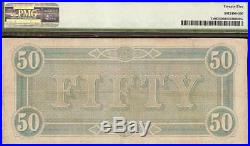 1864 $50 Dollar Bill Confederate States Note CIVIL War Old Paper Money T-66 Pmg