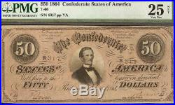 1864 $50 Dollar Bill Confederate States Note CIVIL War Old Paper Money T66 Pmg