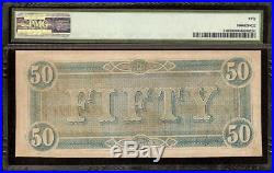 1864 $50 Dollar Bill Confederate States Note CIVIL War Paper Money T-66 Pmg 50