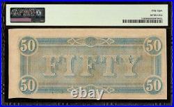 1864 $50 Dollar Bill Confederate States Note CIVIL War Paper Money T-66 Pmg 58
