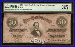 1864 $50 Dollar Confederate States Note CIVIL War Paper Money T-66 Pmg 35 Epq