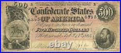 1864 $500 Confederate CIVIL War Currency Stonewall Jackson Attractive Note