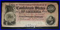1864 $500 Confederate Note C. S. A. Currency From Late Civil War Times