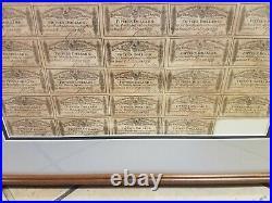 1864 $500 Confederate States of America Civil War Bond Near Complete Framed