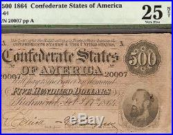1864 $500 Dollar Bill Confederate States Currency Note CIVIL War Money T-64 Pmg